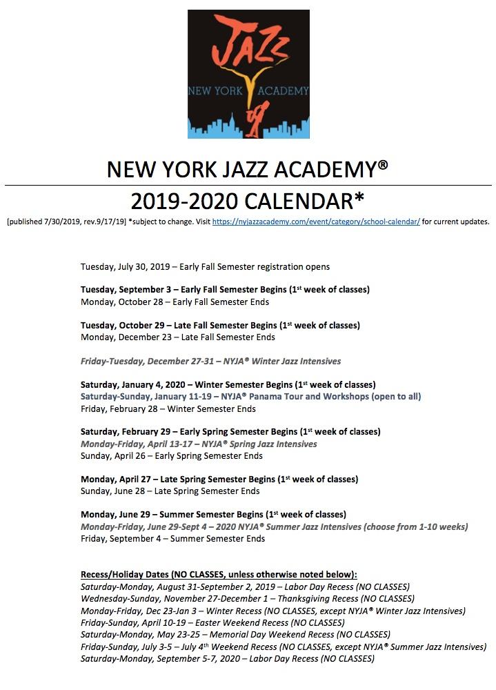 Summer Begins 2020.Nyja School Calendar 2019 2020 Pdf New York Jazz Academy